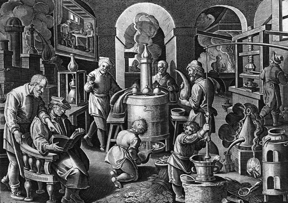 Antique drawing of alchemists lab