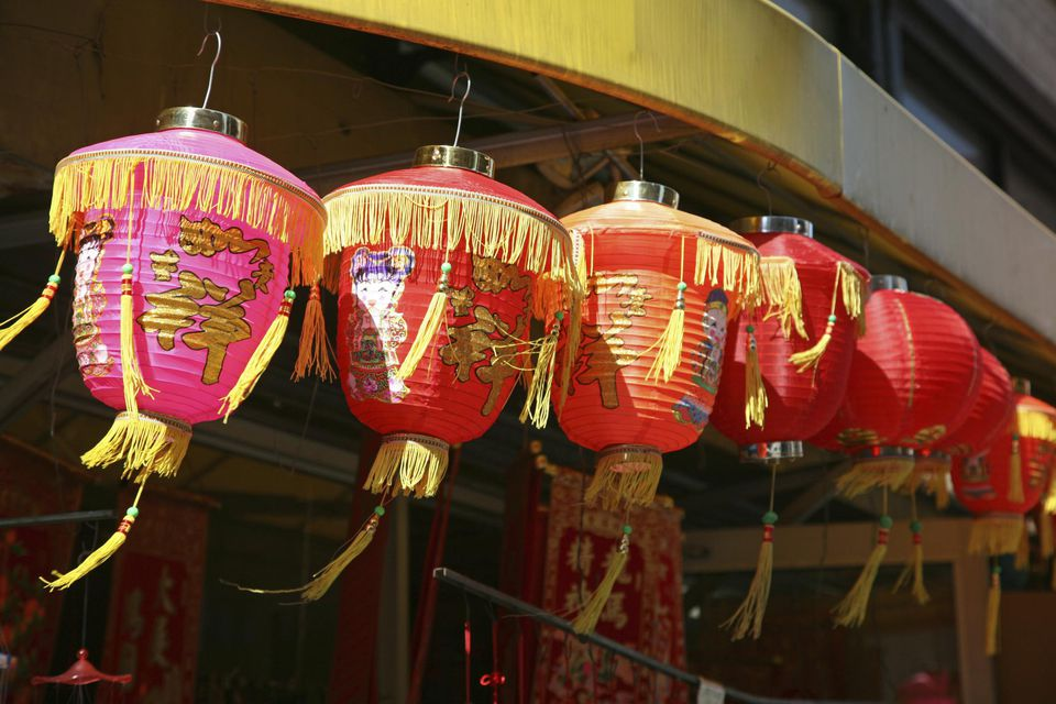 Lucky paper lanterns at souvenir shop in Chinatown, New York City, New York, USA.'
