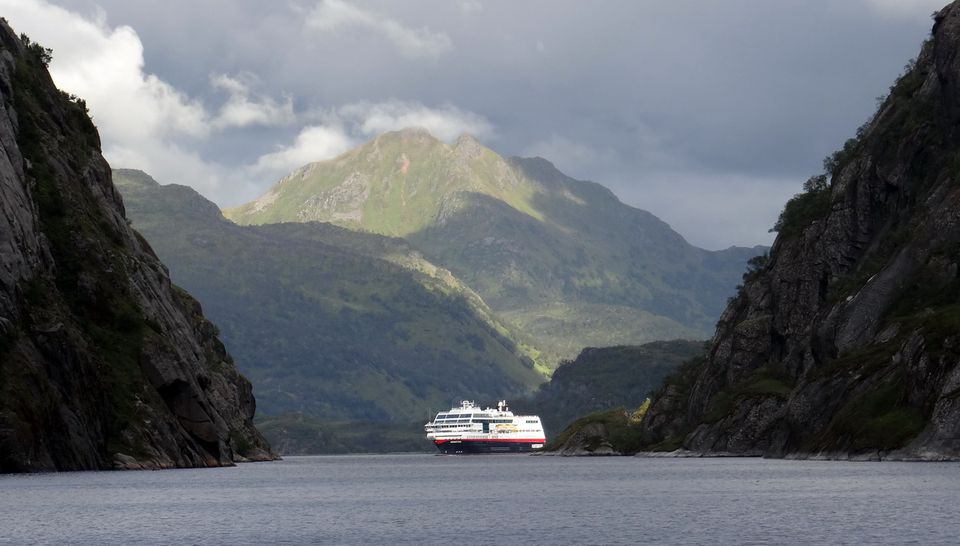 Hurtigruten Midnatsol sailing into the Trollfjord on the world's most beautiful voyage