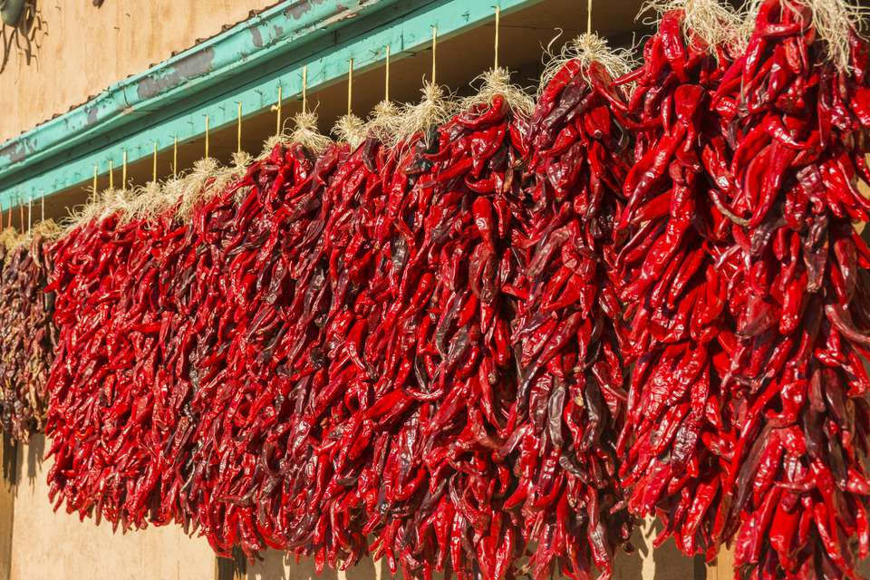 Strings of ristras in New Mexico.