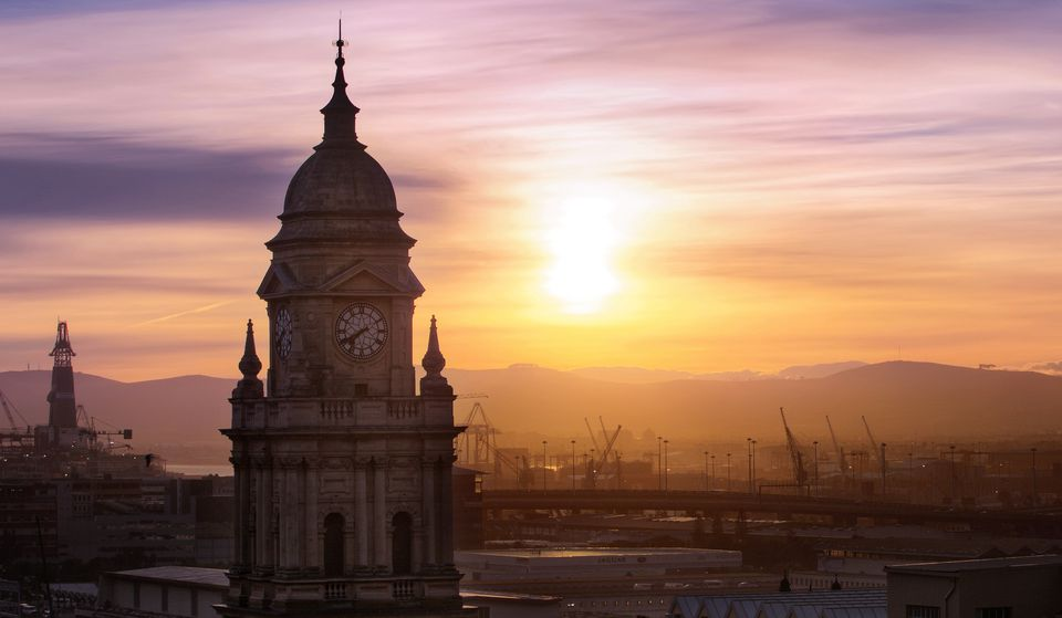 Sunrise with Cape Town City Hall, South Africa