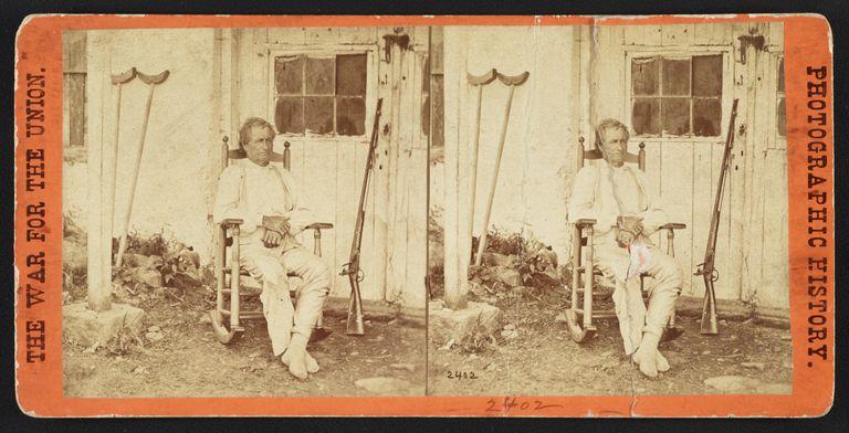 Gettysburg hero civilian John Burns photographed by Mathew Brady depicted on stereoview card.