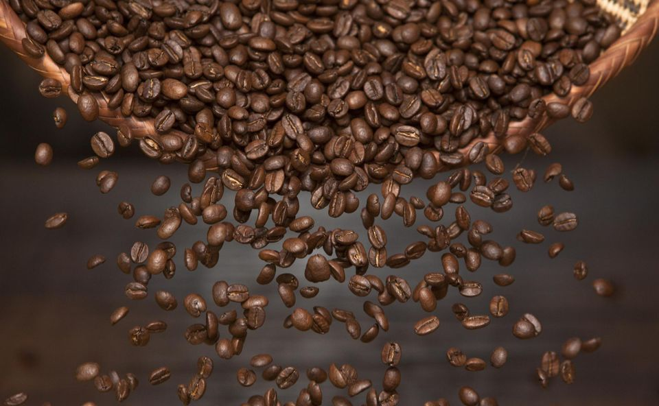 Roasted beans of arabica coffee
