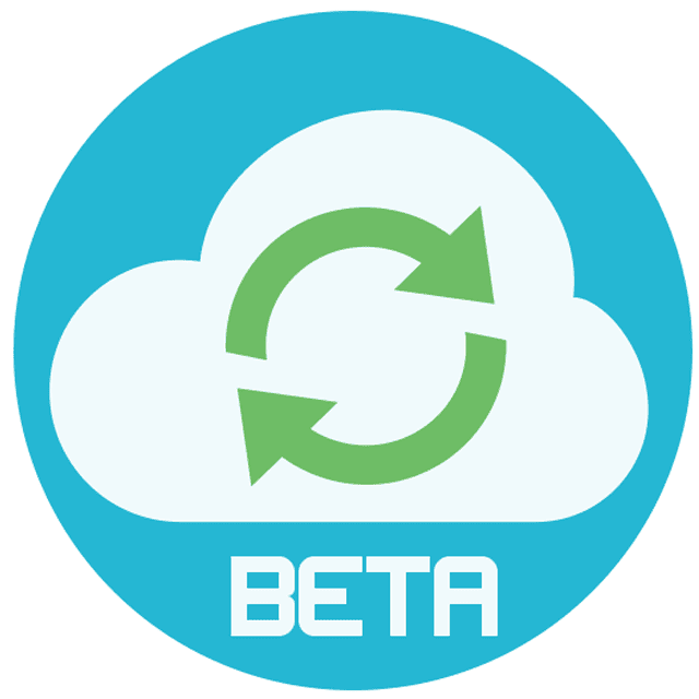 Picture of a cloud on a blue circle that says beta