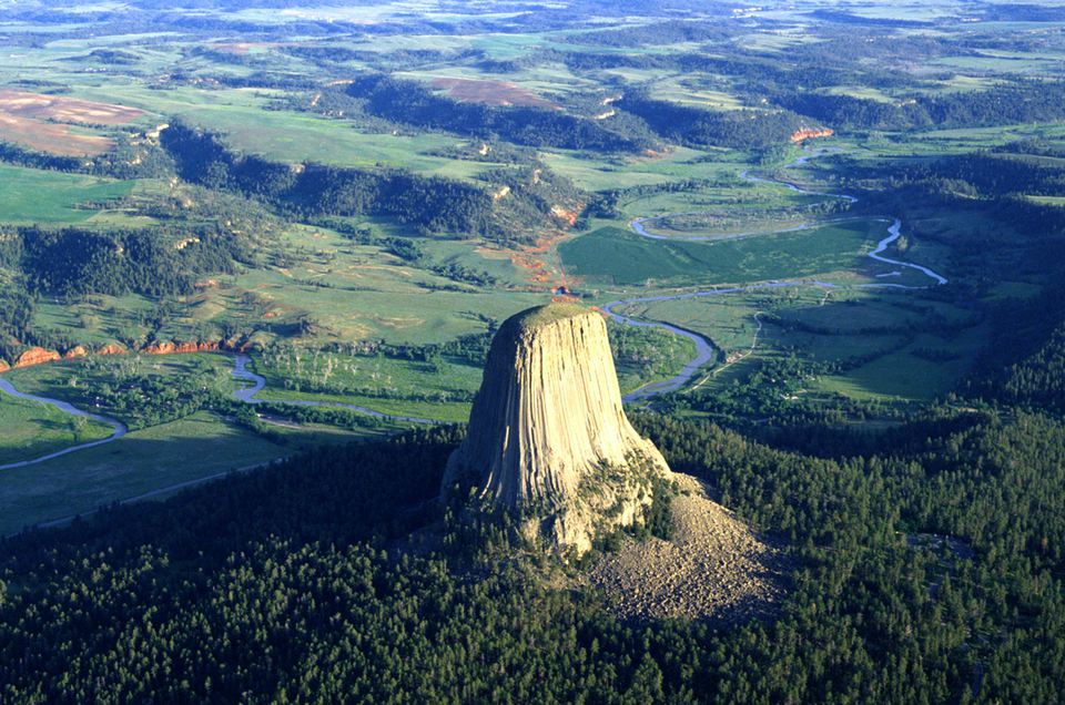 An Aerial View of Devils Tower in Wyoming