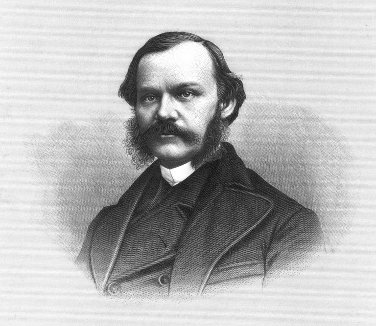 Engraved portrait of journalist Henry J. Raymond