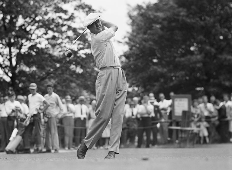 Byron Nelson tees off for the first round of the 1945 Victory National Open.