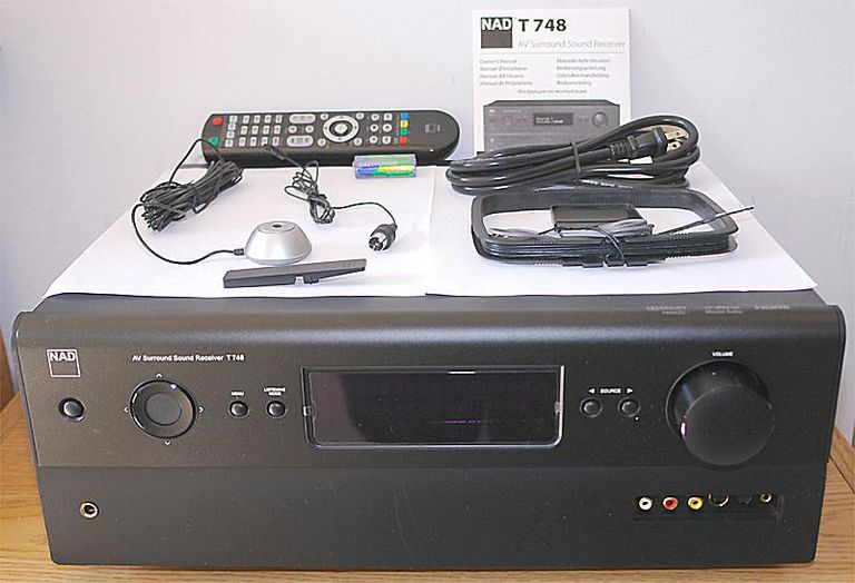 Photo of NAD T748 7.1 Channel Home Theater Receiver - Front View w/Included Accessories