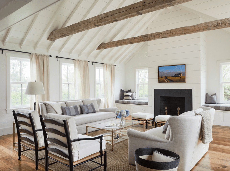 Clean and crisp farmhouse living room