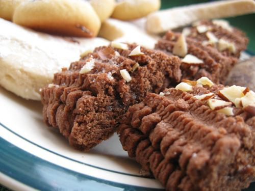 Chocolate Spritz Cookies filled with Jam