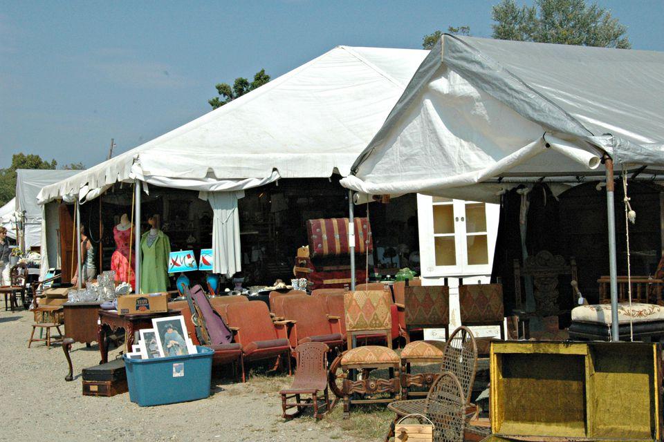 Antique and vintage furniture at Brimfield Flea Market