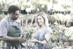 Man and woman in plant nursery