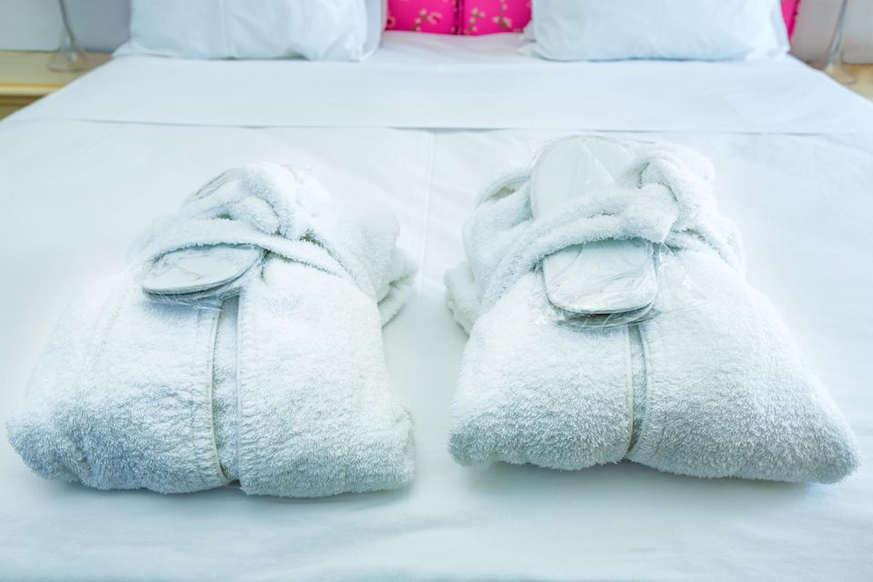 Bathrobes and slippers at hotel