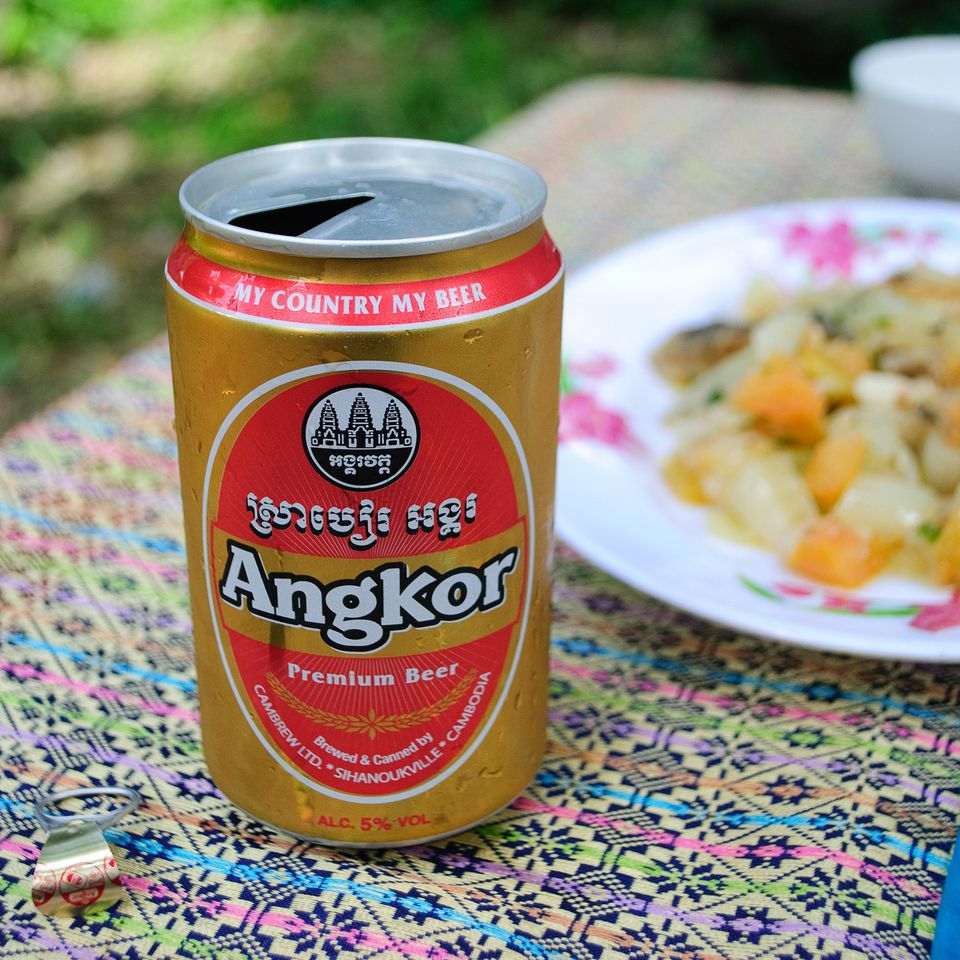 A fresh can of Angkor Beer in Banteay Chhmar, Cambodia