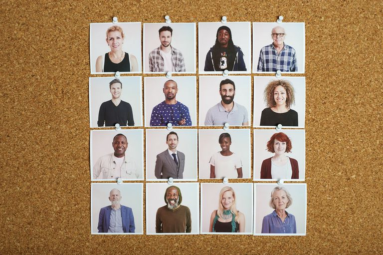 Pictures of People on a Cork Board