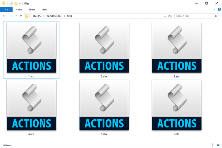 Screenshot of several ATN files used with Photoshop in Windows 10