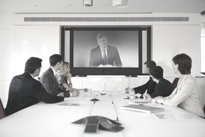 Business colleagues in video conference