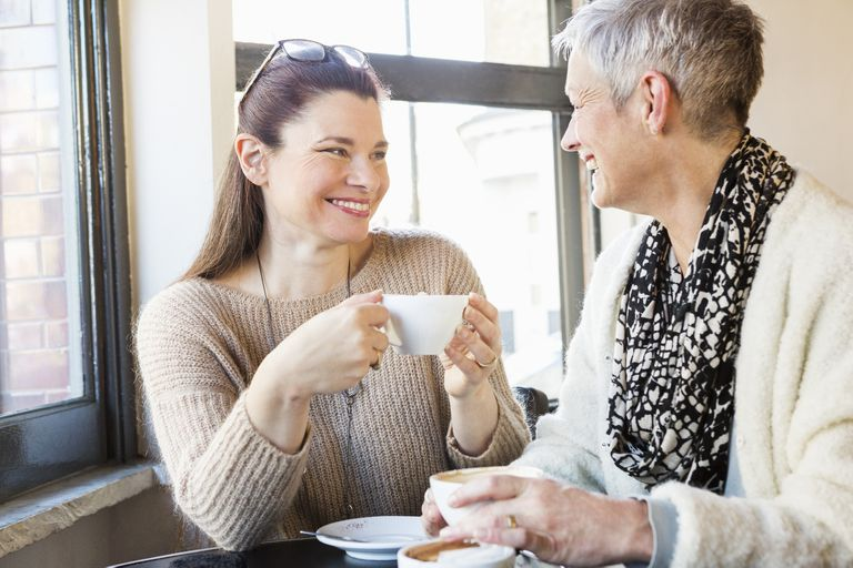Two women having coffee in support group