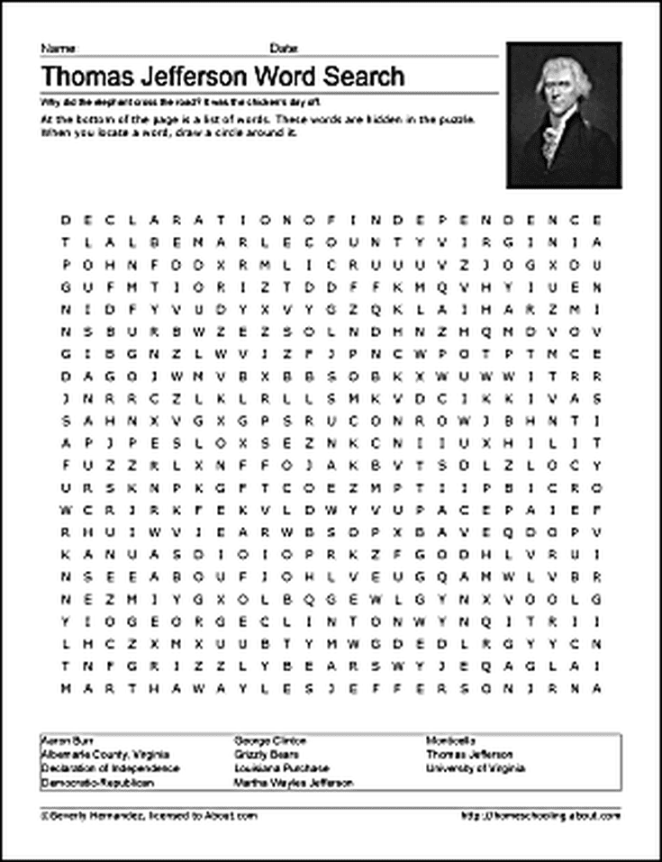 Thomas Jefferson Word Search Coloring Pages and More – Thomas Jefferson Worksheets