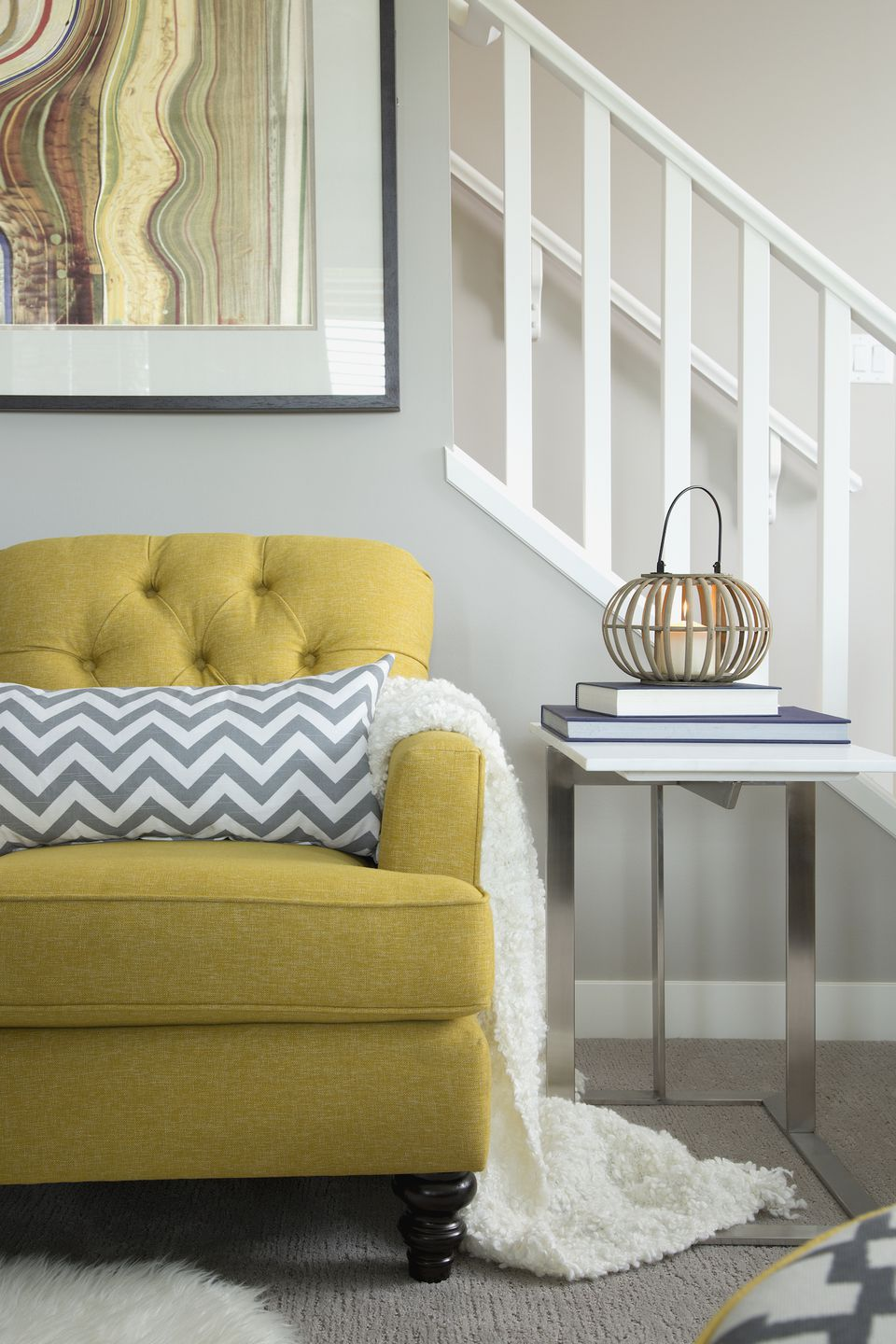 yellow statement chair