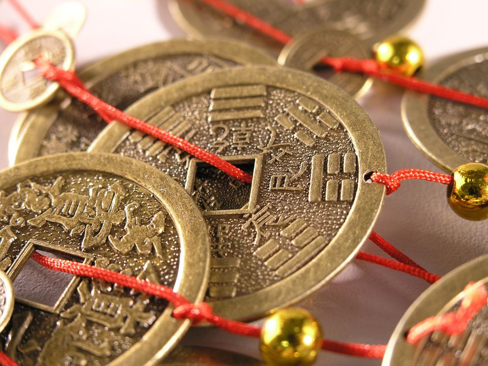 Close-up view of Chinese coins