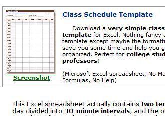 class calendar template