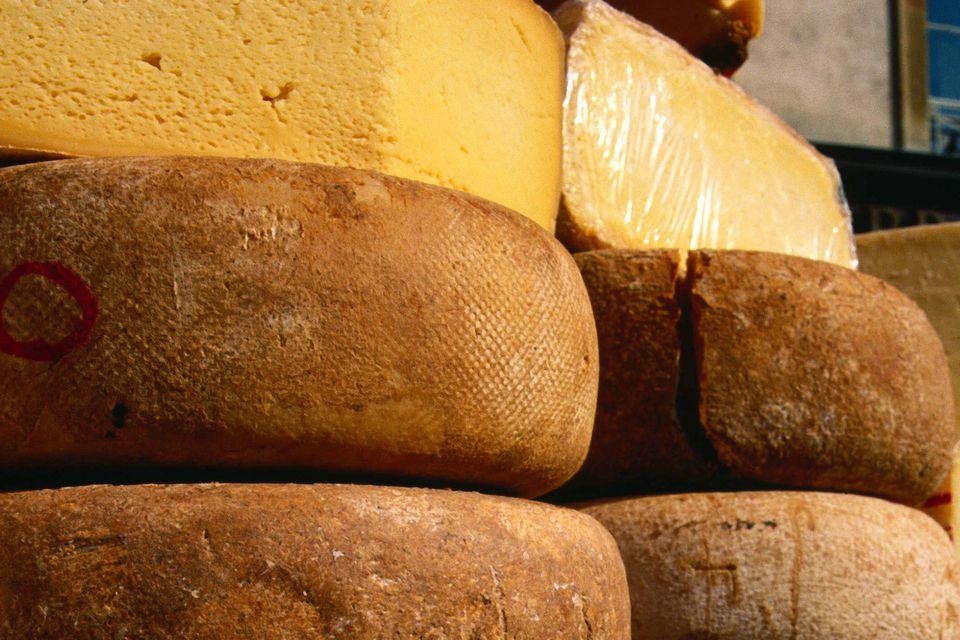 Ewe's milk cheeses on market day