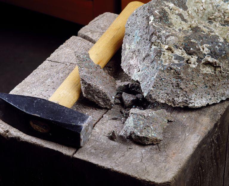 rock hammer next to rock