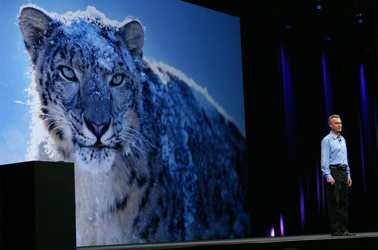 Apple Senior Vice President of OSX Software Bertrand Serlet delivers a keynote address on the new OSX Snow Leopard operating system.