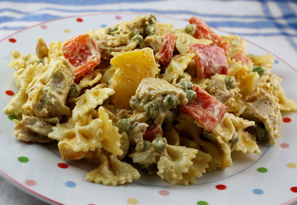 A plate of mustard chicken pasta salad
