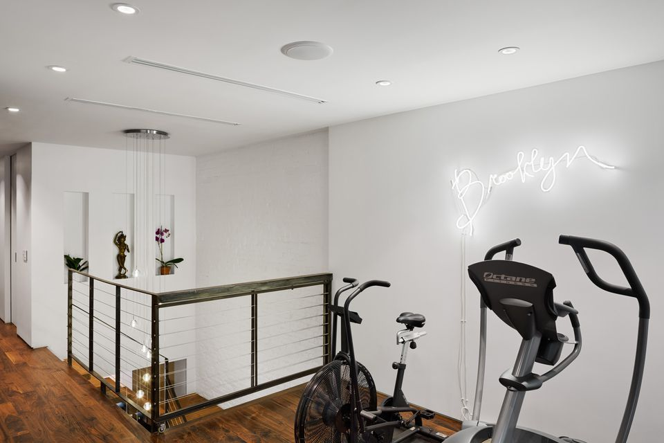 home gym on stair landing