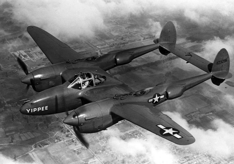P-38J Lightning in flight