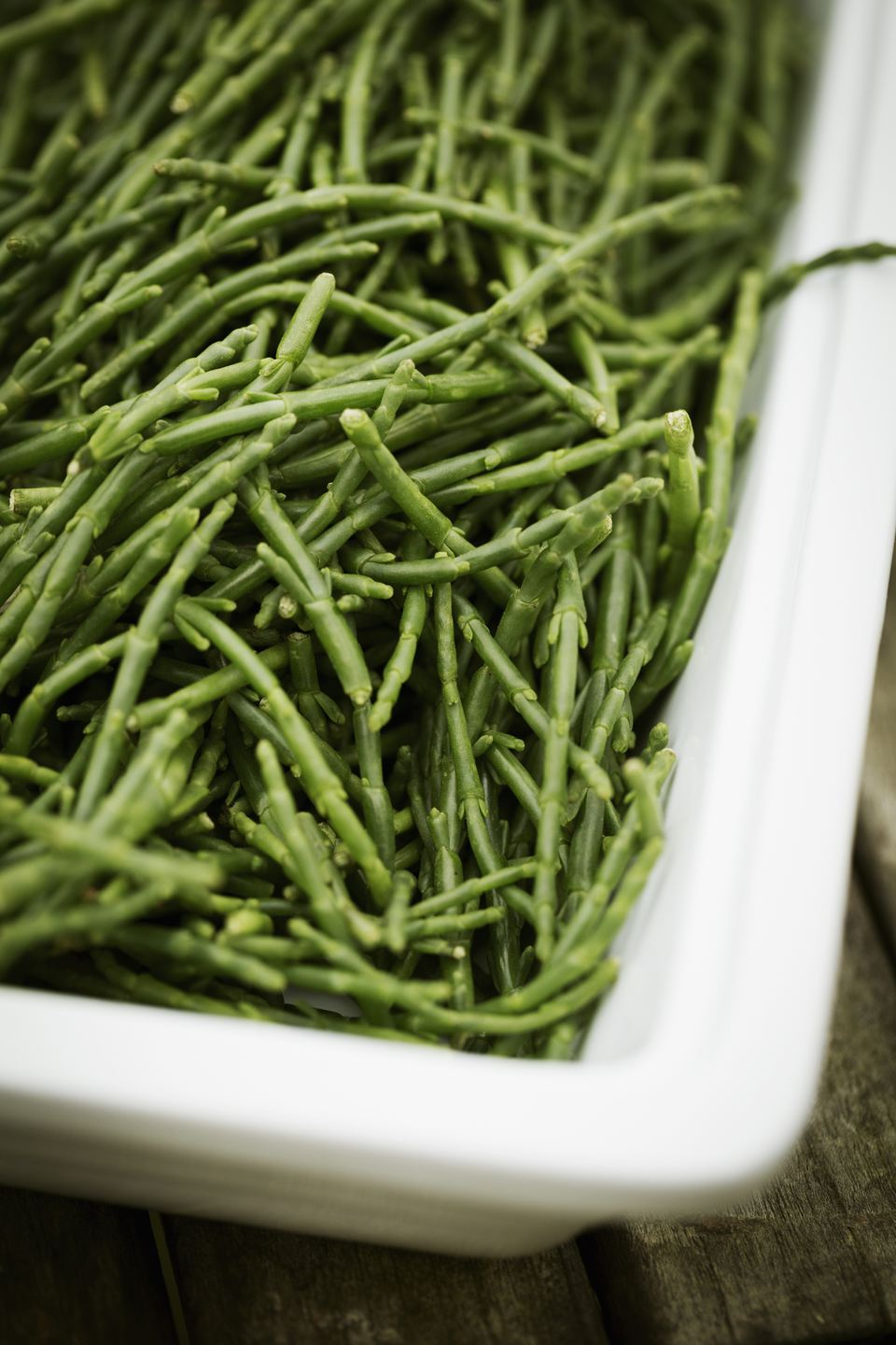 High angle view of a tray of samphire.