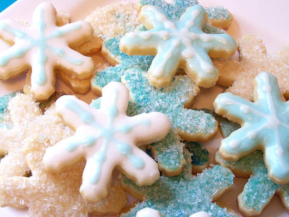 Blue and White Snowflake Sugar Cookies