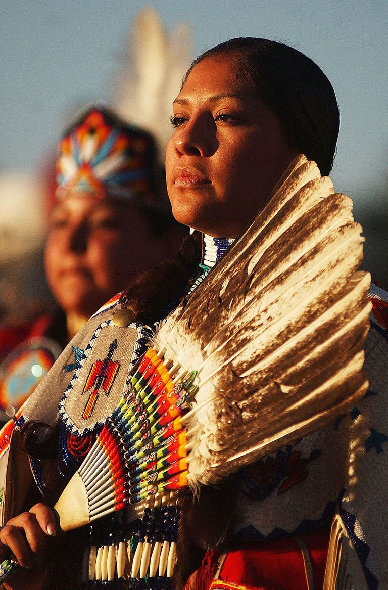 Native American women dance. Photo by Jerome Pollos/Getty Images.