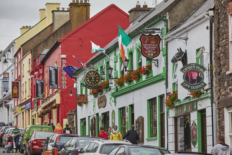 A view of one of the main streets in Dingle town, on the Dingle peninsula, in County Kerry, Ireland.