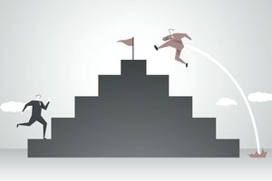 Illustration of one person running up stairs to the top and another hopping over steps to the top