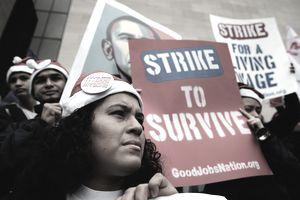 Employees striking