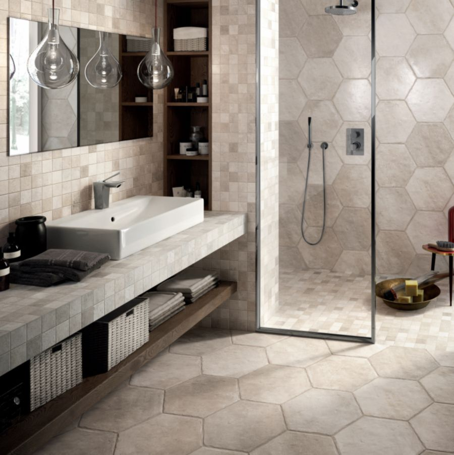Tile picture gallery showers floors walls large hexagonal tile in bathroom and shower dailygadgetfo Gallery