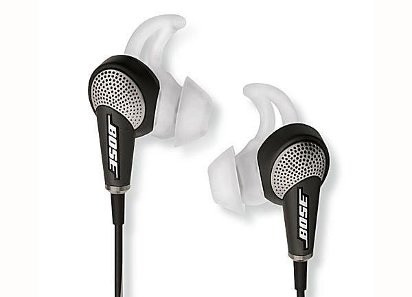 A close-up of the Bose QuietComfort 20 (QC-20) earphones