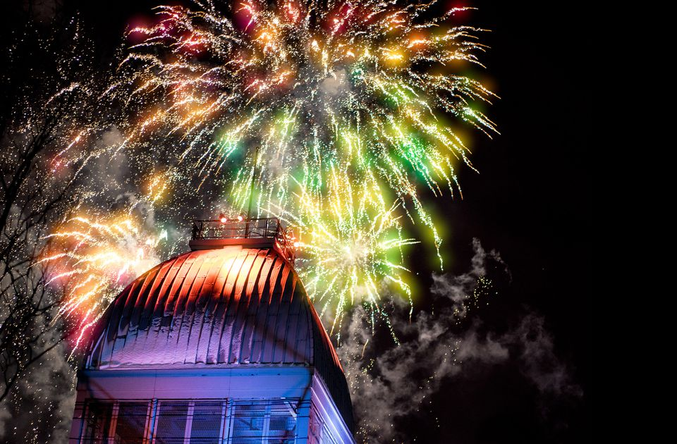 Montreal New Year's Eve 2017-2018 fireworks strike at midnight on January 1, 2017.