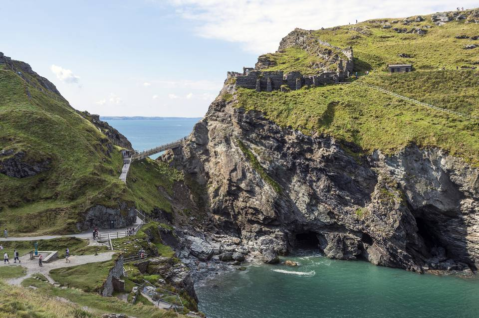 United Kingdom, England, Cornwall, Tintagel, Bridge to Tintagel Castle