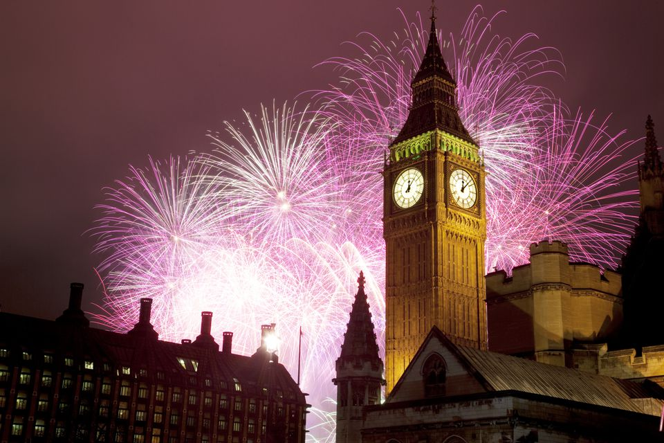 New Year fireworks and Big Ben, Houses of Parliament, Westminster, London