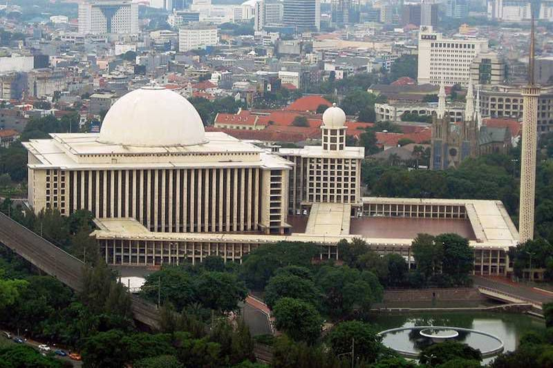 Istiqlal Mosque, as seen from the top of Monas in neighboring Merdeka Square.