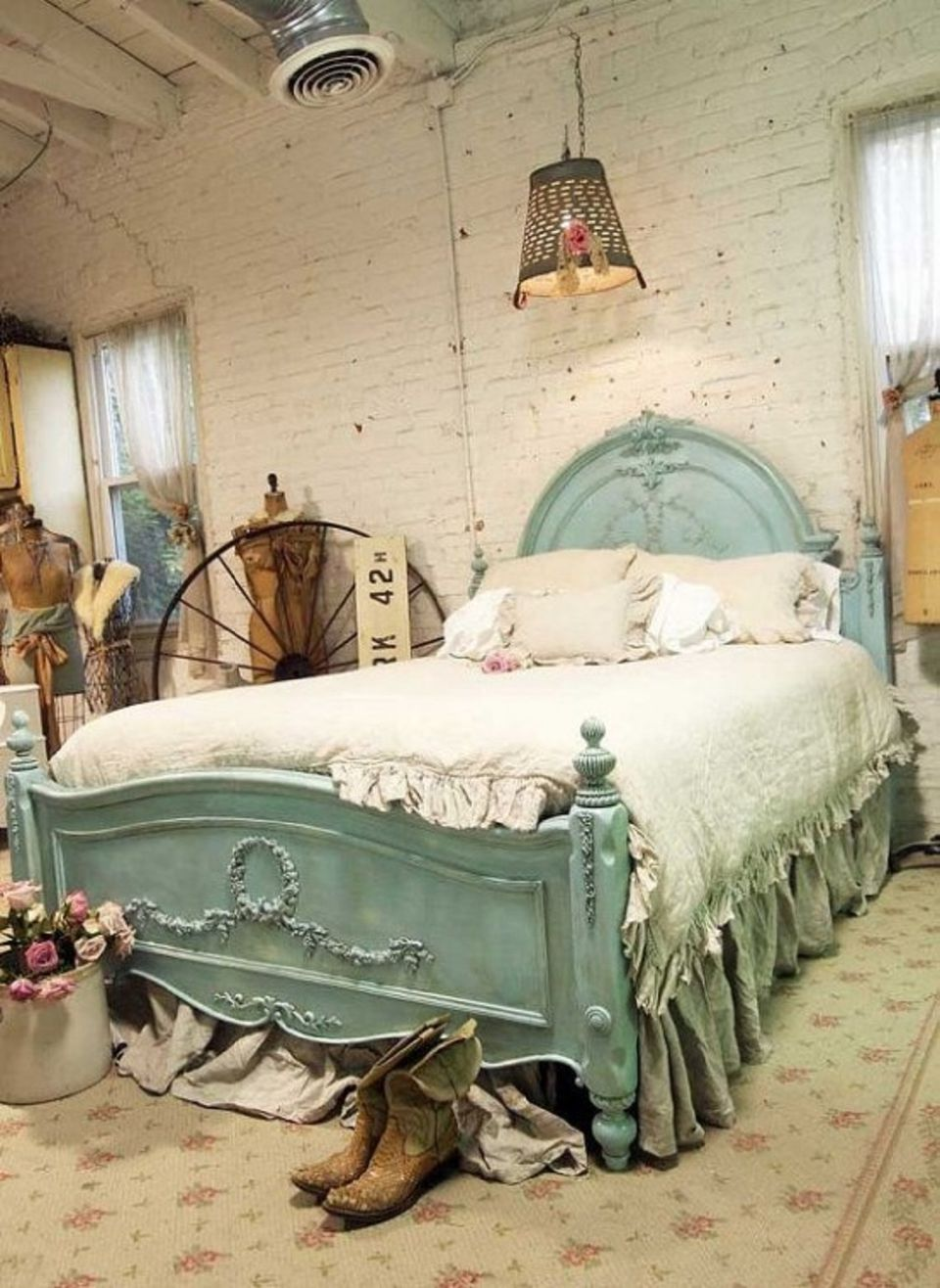 Vintage bedroom in industrial loft.