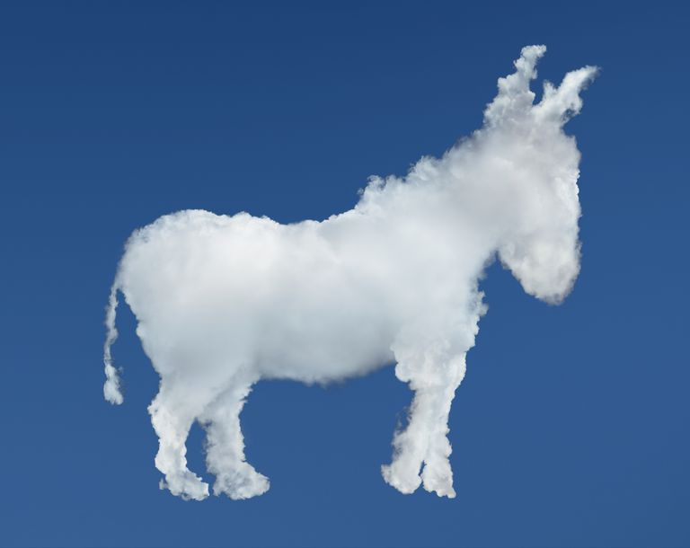 Blue cloud in the shape of a donkey