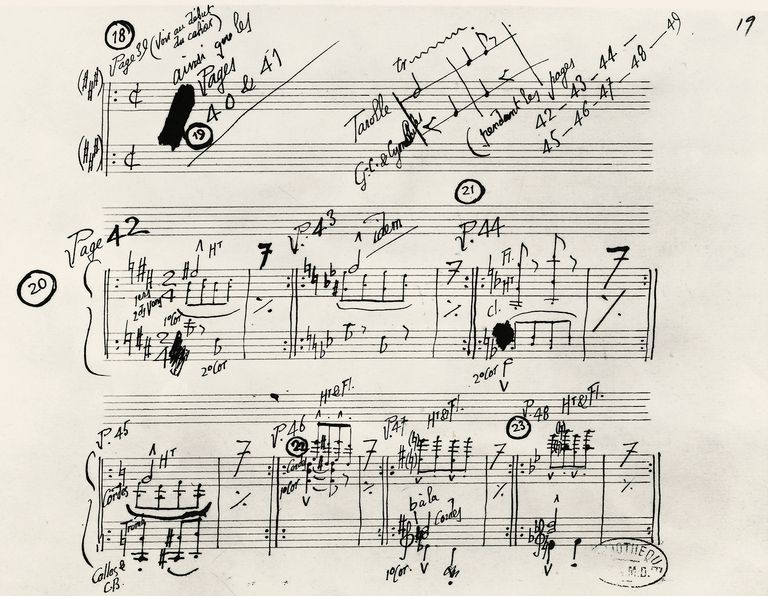 Handwritten manuscript of Parade, by Eric Alfred Leslie Satie (1866-1925). France, 19th century.