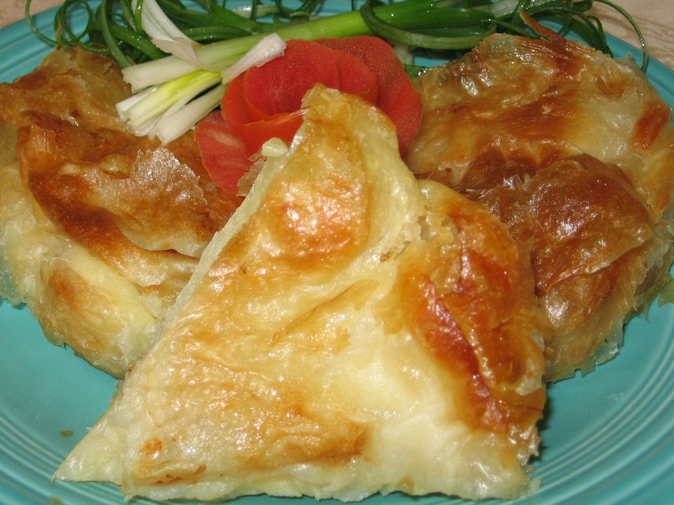 Flaky burek goes great with a glass of cold kefir.