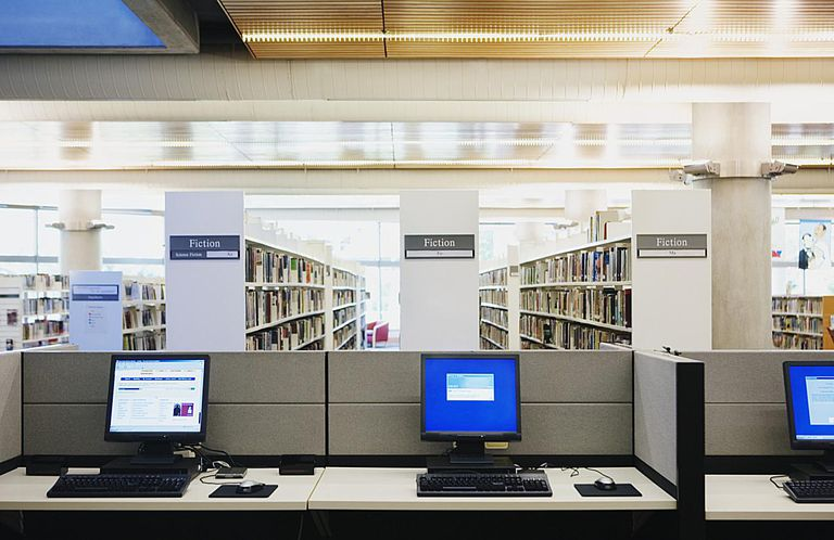 Access genealogy databases at the local library