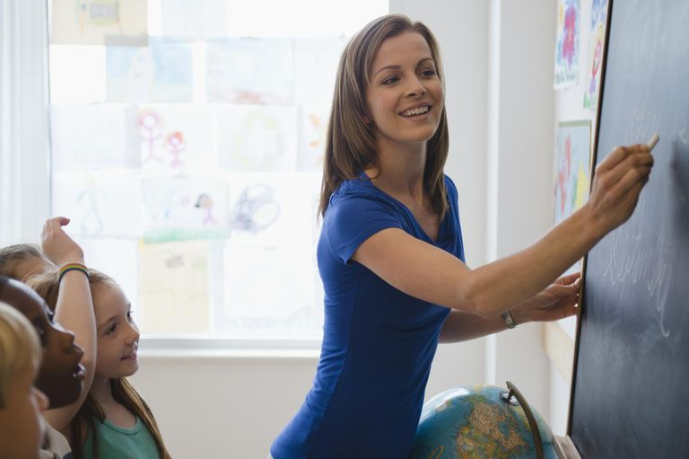 School children (8-9) with female teacher writing on blackboard